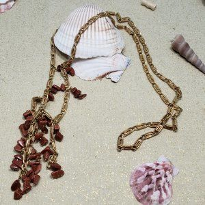 Vintage 1980s Gold Paperclip Chain Goldstone